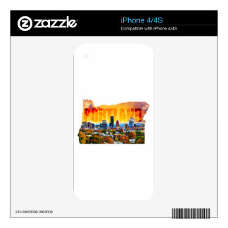 Portland Oregon Cityscape in Map Outline iPhone 4 Decal