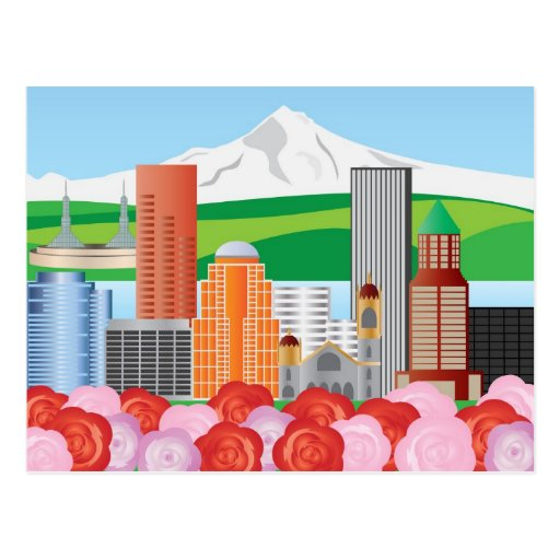 Portland Oregon Cityscape with Mount Hood and Rose Postcards