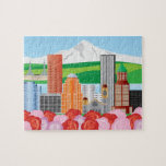 Portland Oregon Cityscape with Mount Hood and Rose Puzzle