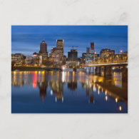 Portland Oregon Downtown at Blue Hour Postcard