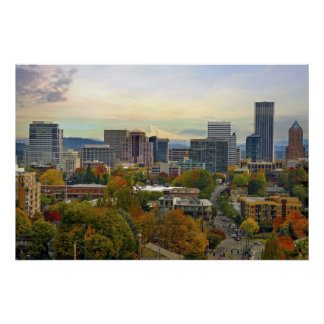 Portland Oregon Downtown Fall Season Colors Poster