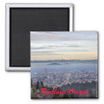 Portland Oregon Downtown Foggy Cityscape Skyline 2 Inch Square Magnet