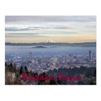 Portland Oregon Downtown Foggy Cityscape Skyline Postcard