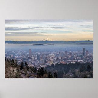 Portland Oregon Downtown Foggy Cityscape Skyline Poster