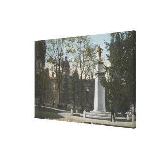 Portland, Oregon - el monumento del soldado y cond Impresion De Lienzo