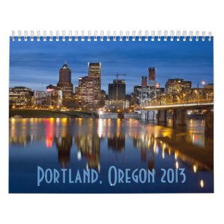 Portland Oregon en el calendario azul de la hora