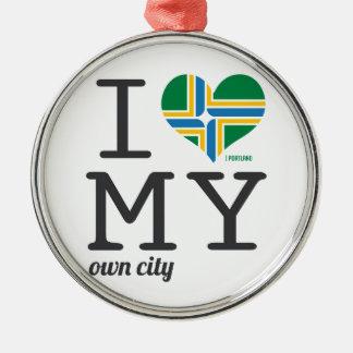Portland Oregon I love my own city Metal Ornament