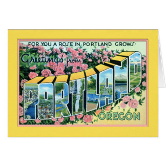 Portland Oregon Large Letter Greetings Card