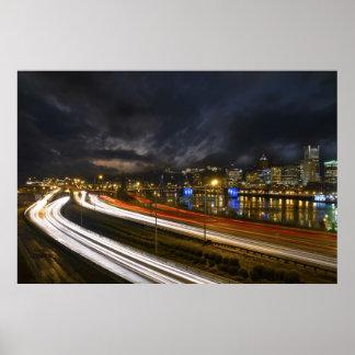 Portland Oregon Light Trails Night Scene Photo Posters