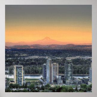 Portland Oregon Mount Hood South Waterfront Poster