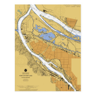 Portland Oregon Nautical Harbor Chart Postcard