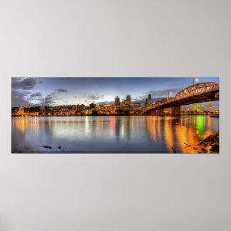 Portland Oregon Night Skyline Reflection Poster