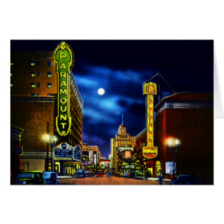 Portland Oregon Paramount Theater at Night Card