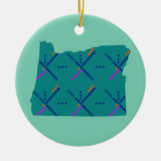 Portland Oregon PDX Airport Carpet Double-Sided Ceramic Round Christmas Ornament