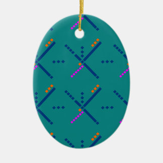 Portland Oregon PDX Airport Carpet Double-Sided Oval Ceramic Christmas Ornament