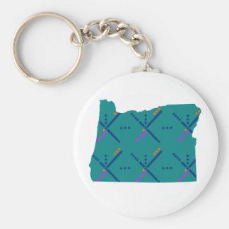 Portland Oregon PDX Airport Carpet Basic Round Button Keychain