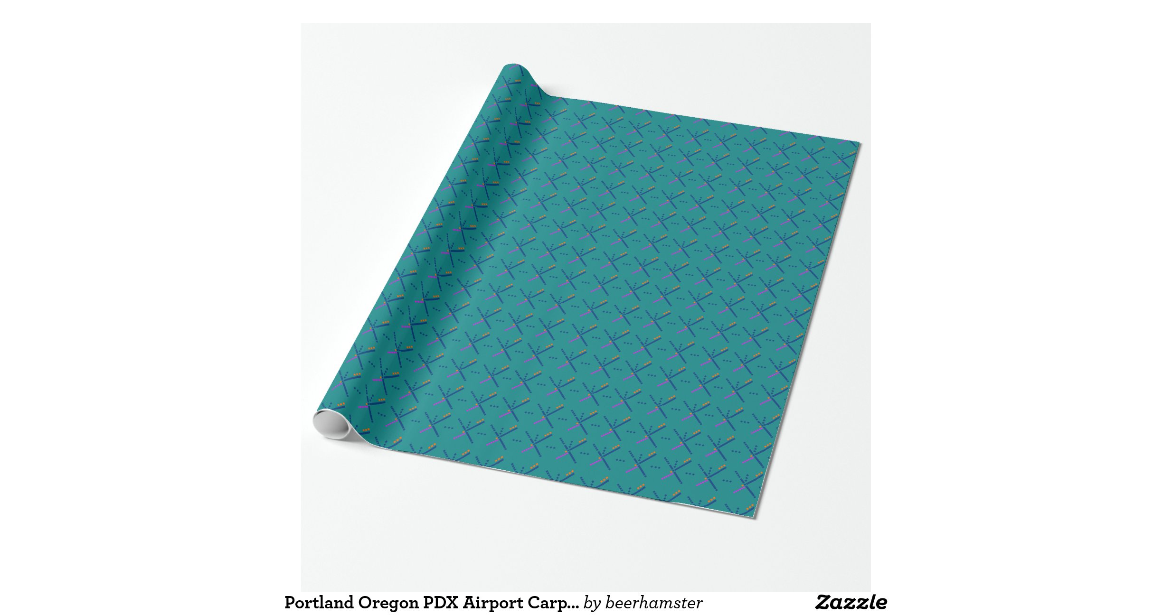 Portland Oregon PDX Airport Carpet Wrapping Paper Zazzle