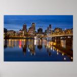 Portland Oregon Skyline at Blue Hour Poster