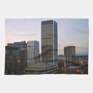 Portland Oregon Skyline at Dusk Hand Towels