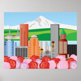 Portland Oregon Skyline Illustration Poster