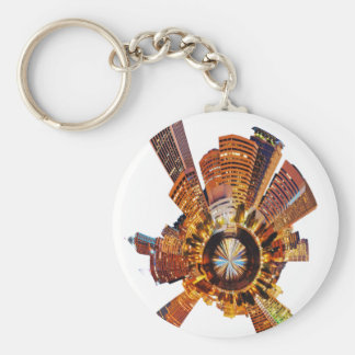 PORTLAND oregon skyline planet Basic Round Button Keychain