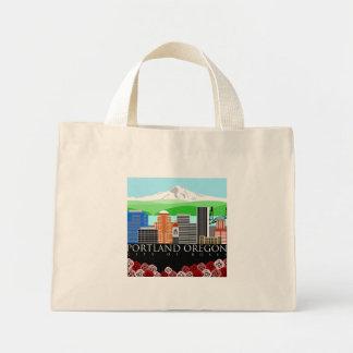 Portland Oregon Skyline with Mount Hood Mini Tote Bag
