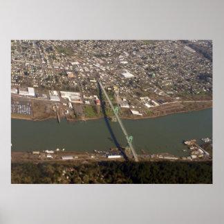 Portland Oregon St. Johns Bridge Aerial Photo Poster