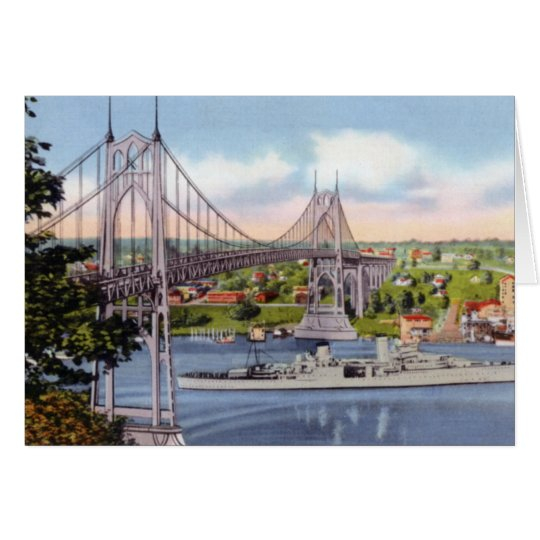 Portland Oregon St. Johns Bridge USS Portland Card