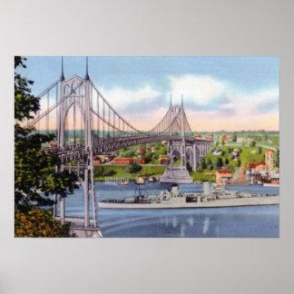 Portland Oregon St. Johns Bridge USS Portland Poster