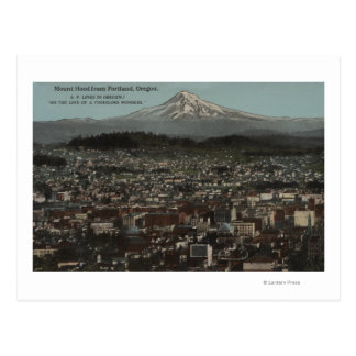 Portland, Oregon - View of Downtown with Mt Postcard