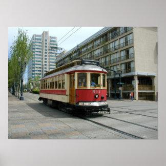 Portland Oregon Vintage Trolley Poster