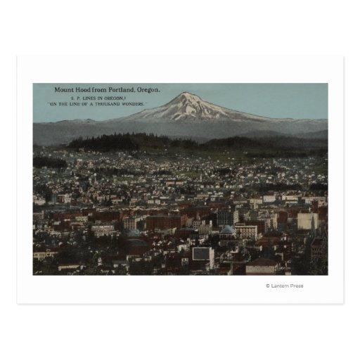 Portland, Oregon - vista del centro de la ciudad Postal