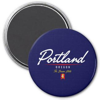 Portland Script 3 Inch Round Magnet