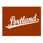 Portland script logo in white distressed post cards