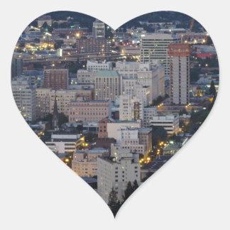 Portland Skyline at Dusk Heart Sticker