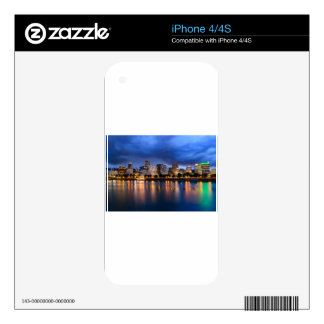 Portland Skyline at Dusk iPhone 4 Decals