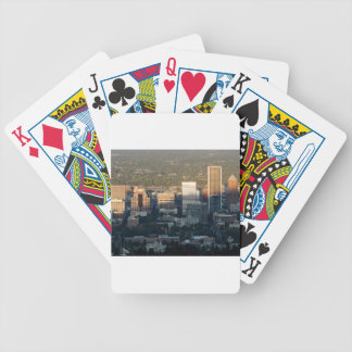 Portland Skyline at Sunset Bicycle Playing Cards