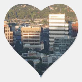 Portland Skyline at Sunset Heart Sticker