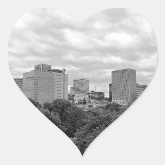 Portland Skyline Black and White Heart Sticker