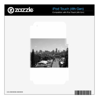Portland Skyline Black and White iPod Touch 4G Decal