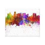 Portland skyline in watercolor background impresión de lienzo