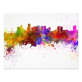 Portland skyline in watercolor background photograph