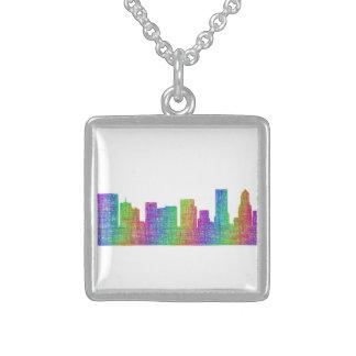 Portland skyline square pendant necklace