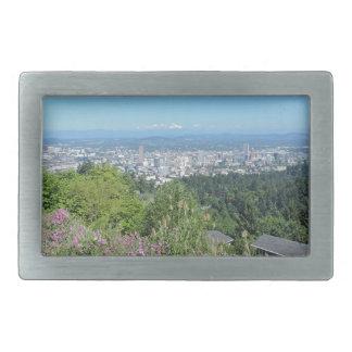 Portland Skyline with Mount Hood Rectangular Belt Buckles