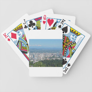 Portland Skyline with Mount Hood Bicycle Playing Cards