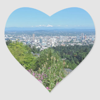 Portland Skyline with Mount Hood Heart Sticker