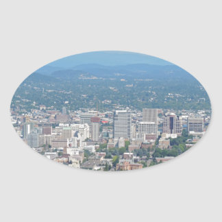 Portland Skyline with Mount Hood Oval Sticker
