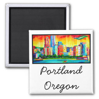 Portland Waterfront 2 Inch Square Magnet
