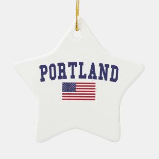 Portland YO bandera de los E.E.U.U. Adorno Navideño De Cerámica En Forma De Estrella