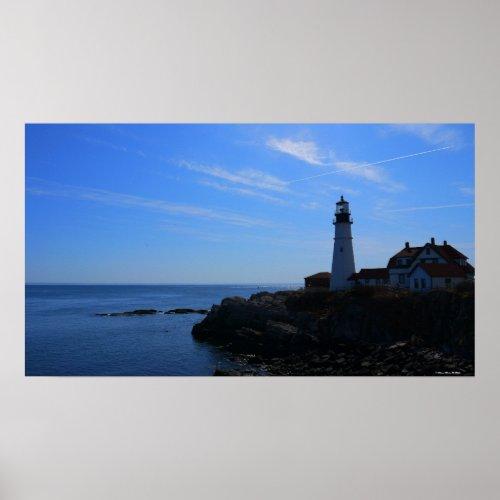 Portlandhead Lighthouse Blue sky Maine Poster zazzle_print